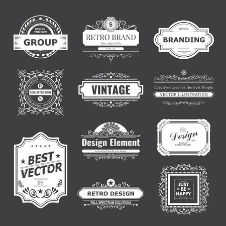 Retro Vintage labels Insignias set.   イラスト・ベクター素材