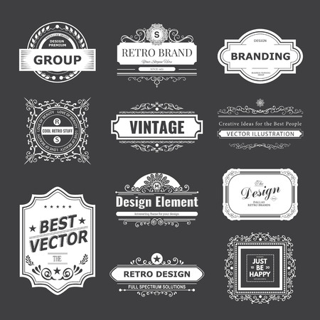 Retro Vintage labels Insignias set.  일러스트