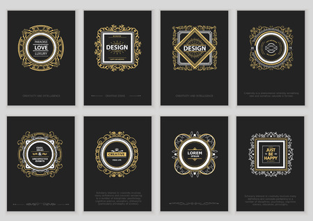 vintage retro frame: Set of Bright Vintage Labels, Frames, Floral Patterns and Brochures.