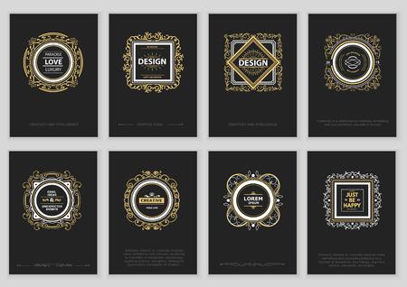 Set van Bright Vintage Etiketten, Frames, Bloemen patronen en brochures. Stock Illustratie