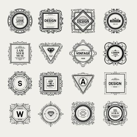 Monogram  luxury template with flourishes calligraphic elegant ornament elements.  イラスト・ベクター素材