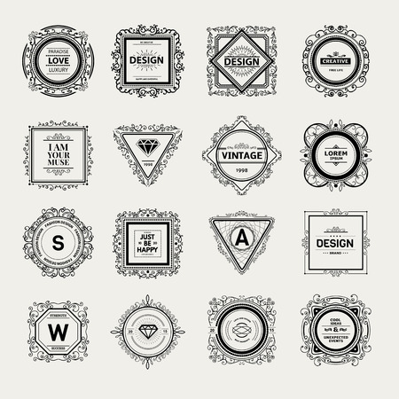 Monogram  luxury template with flourishes calligraphic elegant ornament elements. Vectores