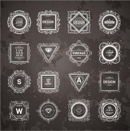 luxury template: Monogram  luxury template with flourishes calligraphic elegant ornament elements. Illustration