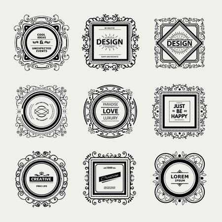 antique frames: Monogram  luxury template with flourishes calligraphic elegant ornament elements. Illustration