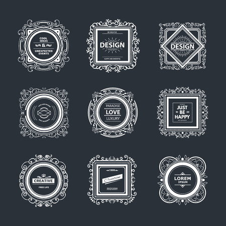 graphic elements: Monogram  luxury template with flourishes calligraphic elegant ornament elements. Illustration