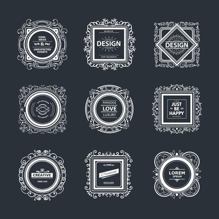 Monogram  luxury template with flourishes calligraphic elegant ornament elements. Illustration