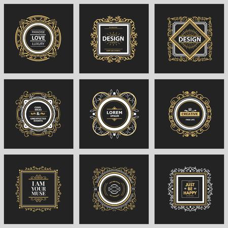 design frame: Monogram  luxury template with flourishes calligraphic elegant ornament elements. Illustration