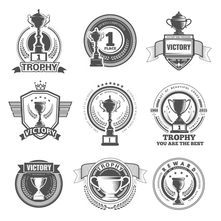 Set of vector winner, badges, emblems and design elements. Black icons Victory trophies and awards Illustration
