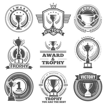 ベクトルの勝者、バッジ、エンブレム、デザイン要素のセットです。黒いアイコン勝利のトロフィーと賞