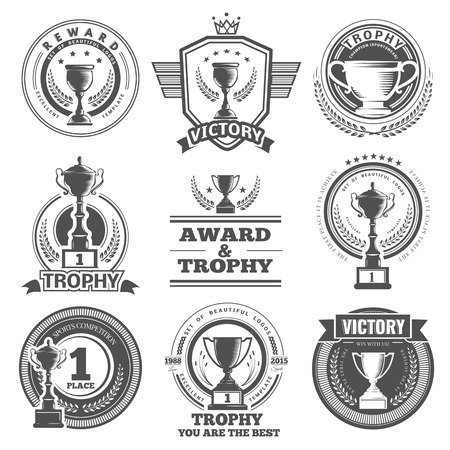 Set of vector winner, badges, emblems and design elements. Black icons Victory trophies and awards Vectores