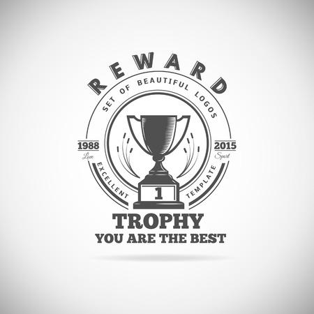 symbol sport: Reihe von Vektor-Gewinner, Abzeichen, Embleme und Design-Elemente. Black icons Victory Pokale und Auszeichnungen