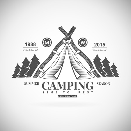 girl scout: Retro vector vintage camp label and logo graphics. Camping outdoor, adventure and explorer.