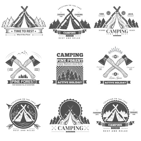 camping: Retro vector vintage camp label and logo graphics. Camping outdoor, adventure and explorer.