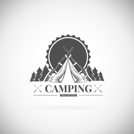adventures: Retro vector vintage camp label and logo graphics. Camping outdoor, adventure and explorer.