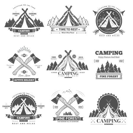 Retro vector vintage camp label and logo graphics. Camping outdoor, adventure and explorer. Reklamní fotografie - 43947676