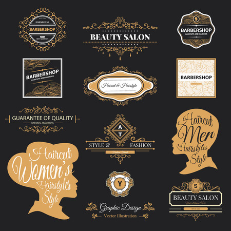 hair style:  set of retro barber shop labels, badges and design element.