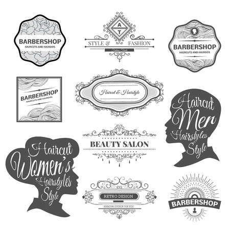 barbero: conjunto de etiquetas peluquería retro, escudos y elemento de diseño.