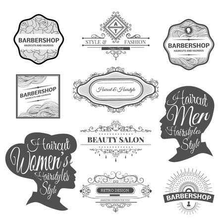 simbolo uomo donna: set di etichette retr� negozio di barbiere, scudetti e elemento di design.