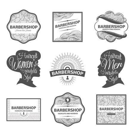 hair style collection: set of retro barber shop labels,  badges and design element. Illustration