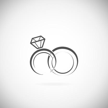 anillo de boda: Los anillos de bodas icono sobre un fondo blanco Vectores