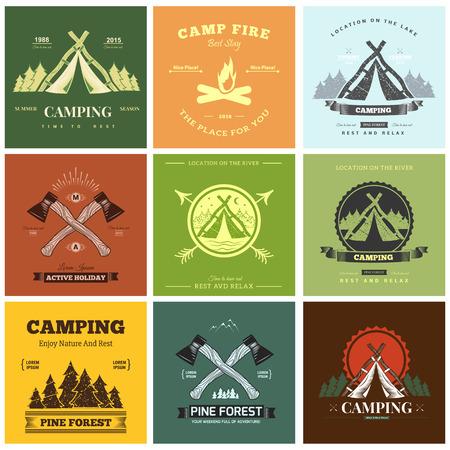 campamento: Gráficos de la etiqueta campamento de época retro. Acampar al aire libre, aventura y explorador. Vectores