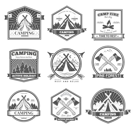girl scout: Retro vintage camp label graphics. Camping outdoor, adventure and explorer.