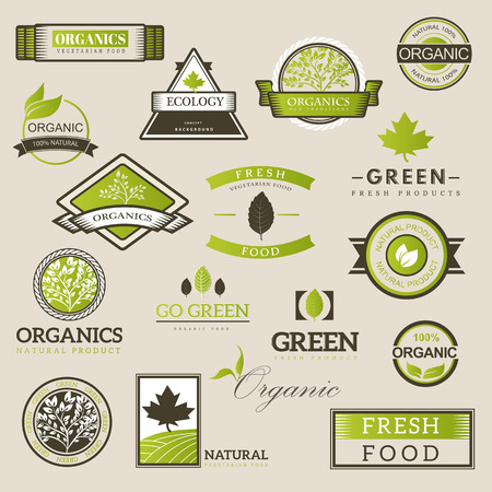 Organic food  ,labels and vector elements. Fresh and natural food. Ilustrace