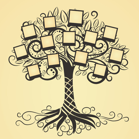 family tree: Memories vector art tree with photo frames. Insert your picture into frame. Illustration