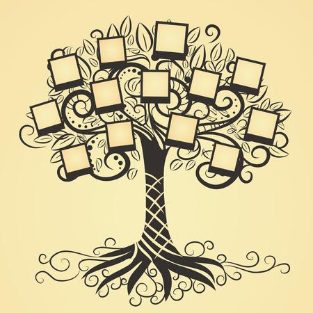 arbol genealógico: Recuerdos vector árbol de arte con marcos de fotos. Inserte su imagen en el marco. Vectores