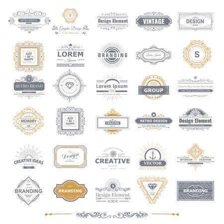 Retro Vintage labels Insignia set.