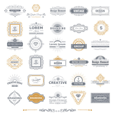Retro Vintage labels Insignias  set.