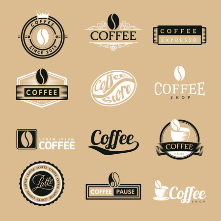 certified stamp: Coffee Vintage Labels Logo Template Collection. Vector Symbols and Icons of Retro style. Mocha, Espresso, Ristretto, Latte, Americano.