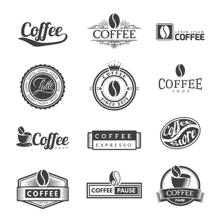 Coffee Vintage Labels Logo Template Collection. Vector Symbols and Icons of Retro style. Mocha, Espresso, Ristretto, Latte, Americano.