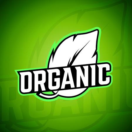 natural food: Organic food logo label, vector element. Fresh and natural food.