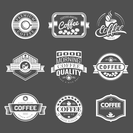 coffee: Coffee Vintage Labels Logo Template Collection. Vector Symbols and Icons of Retro style. Mocha, Espresso, Ristretto, Latte, Americano.