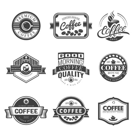 label circular: Coffee Vintage Labels Logo Template Collection. Vector Symbols and Icons of Retro style. Mocha, Espresso, Ristretto, Latte, Americano.