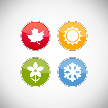 hot and cold: Four seasons icon symbol vector illustration. Weather forecast