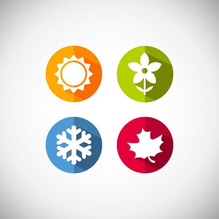 Four seasons icon symbol vector illustration. Weather forecast