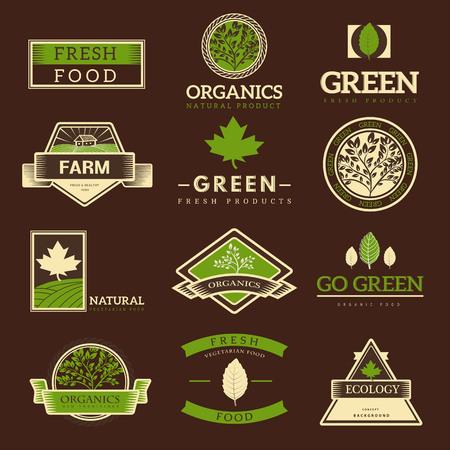 organic food: Organic food logos, labels and vector elements. Fresh and natural food. Illustration