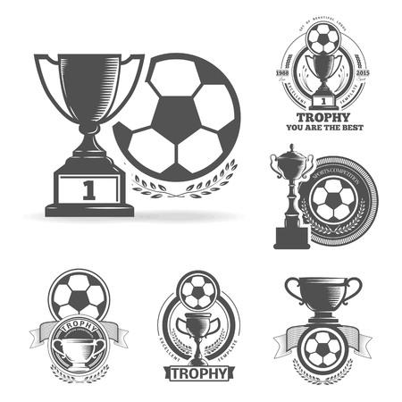 pelota de futbol: Conjunto de vectores emblemas deportivos. Insignias logotipo y etiquetas. Iconos Fútbol