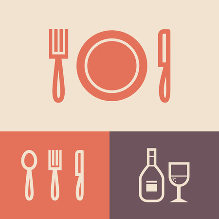 plate: Fork, plate and knife vector illustration. Cutlery