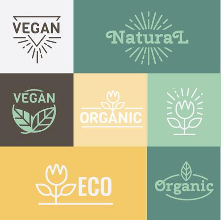 catering food: Organic, Natural and Health food.  Food packaging. Vegan food. Emblem  set of vector illustrations Illustration