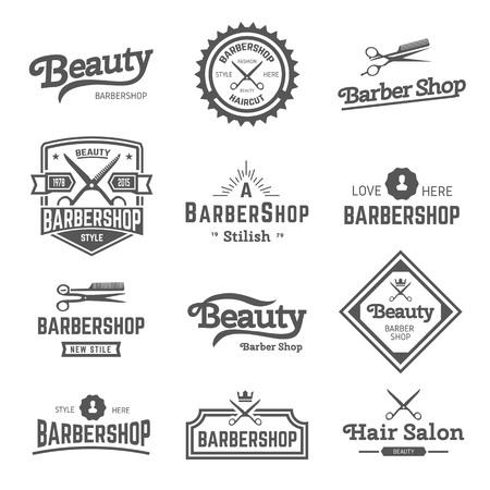 Set of retro barber shop design element