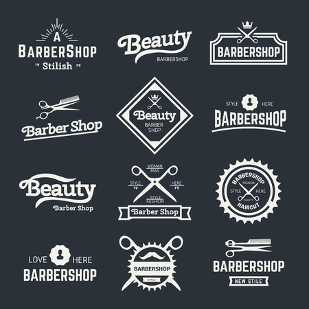Set of retro barber shop design element