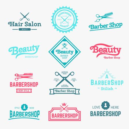 barber: Set of retro barber shop design element