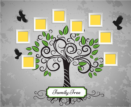 Memories vector art tree with photo frames. Insert your picture into frame.  イラスト・ベクター素材