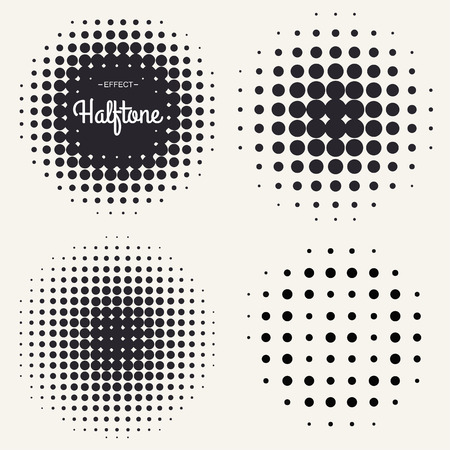 circle abstract: Grunge halftone drawing textures background set