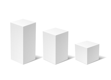 perpendicular: White 3D box isolated on a white background