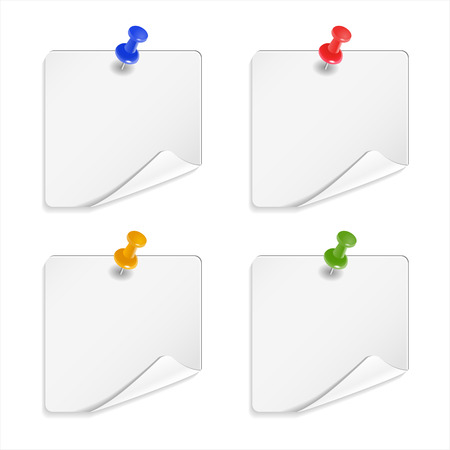 note paper: White sticker or note paper on white background. Vector illustration