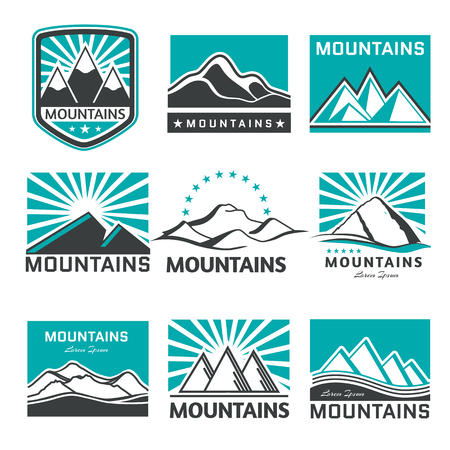 summit: Set of retro badges and label   vector mountains. Landscape badges and travel   emblems